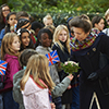 Princess Anne meets the children